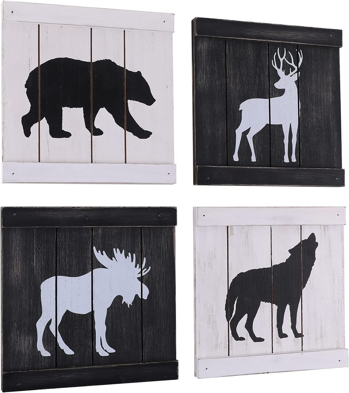 Rustic Cabin Decor Clearance, Wolf Deer Moose Bear Decorations for Home, Woodland Animal Wall Decor, Cabin Lodge Wall Art Decor, Hunting Decor for Bathroom Bedroom, Set of 4