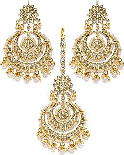 Zaveri Pearls Gold Tone Kundan & Pearls Traditional Earring & Maangtikka Set For Women-ZPFK8541