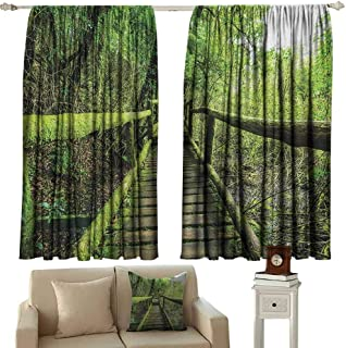 GUUVOR Rainforest 99% Blackout Curtains Rainforest in Inthanon Mountain Chiang Mai Thailand Romantic Honeymoon Theme for Bedroom Kindergarten Living Room W52 x L36 Inch Green Brown