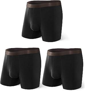 David Archy Men's 3 Pack Underwear Ultra Soft Bamboo Rayon Basic Boxer Briefs