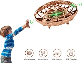 Lumsburry Hand Operated Mini Drone for Kids, Flying Ball Toy UFO Helicopter Infrared Induction Quadcopter with LED Light 360 Degree Rotation (Gold)