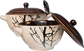 Bake & Serve - Large Ceramic Soup Bowls With Handles - 30 Ounce - Set of 2 - Oven-, Microwave and Dishwasher Safe Pots with Lids