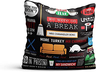 MCSID RAZZ - Friends TV Series Infographic Decorative Satin Cushion Cover (12x12 inch) Without Filler - Gift set Birthday Ann