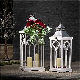 Glitzhome Farmhouse Wood/Metal Lanterns Decorative Hanging Candle Lanterns Set of 2 White (No Glass)