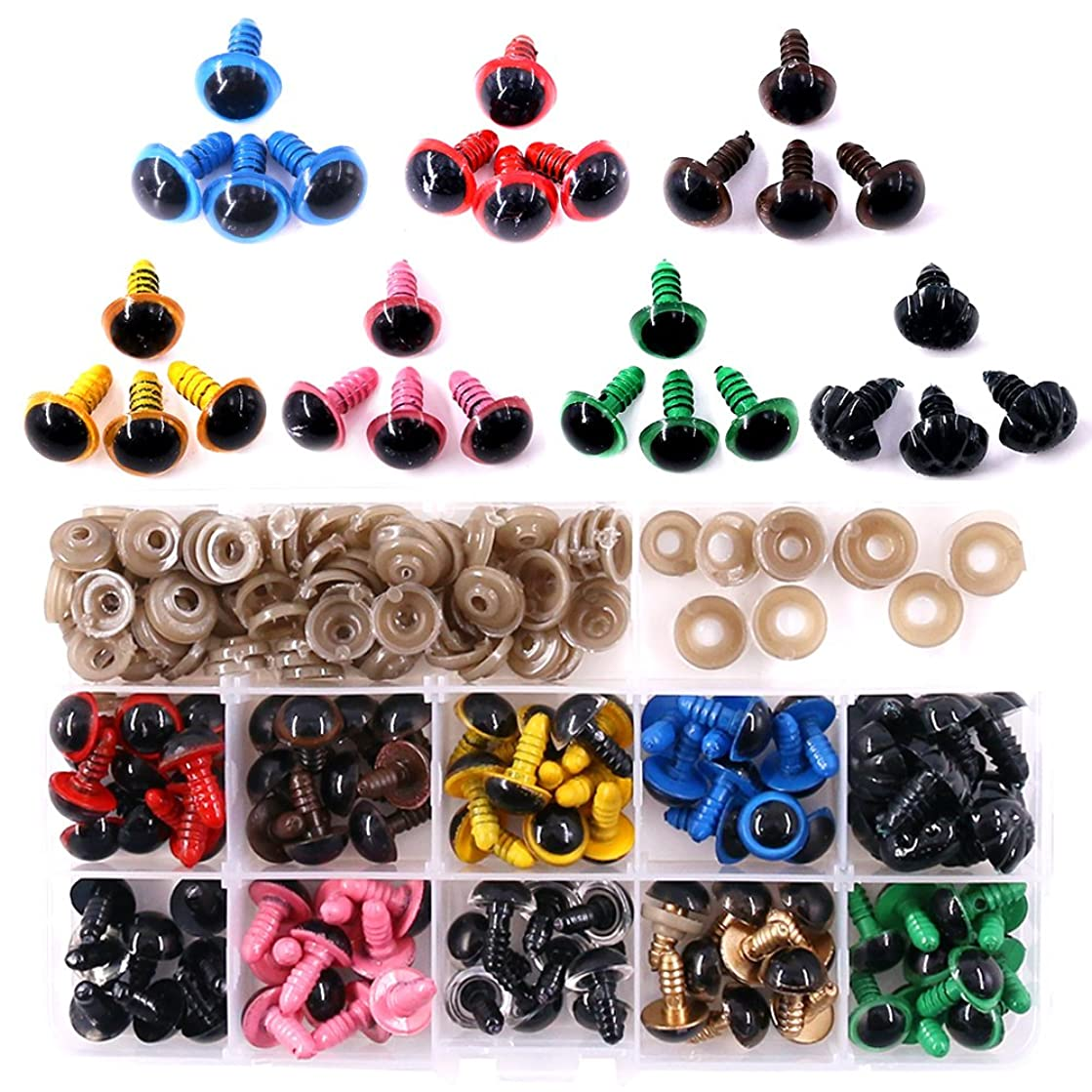 ??? Swpeet 90pcs 12MM 9 Color Plastic Safety Eyes and 10Pcs 12MM Noses Set for Doll, Puppet, Plush Animal Making and Teddy Bear