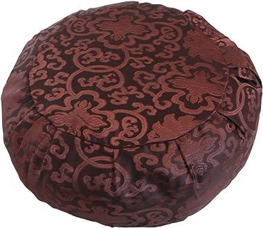 Buddha Groove Brocade Zafu Meditation Cushion in Regal Jewel Tones with Separate Buckwheat Hulls Insert | Ideal Tools for Yog