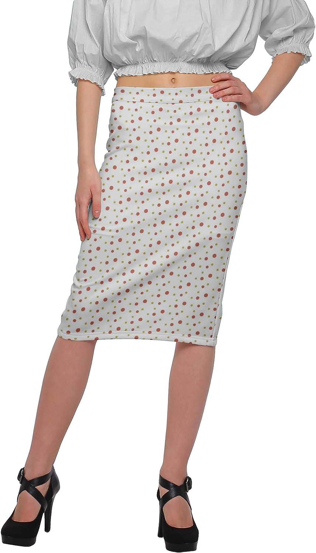 Moomaya Printed Knee Length Skirt for Women Plus Size Poly Spandex Skirt