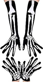 2 Paar Halloween Skelett-Handschuhe lang kurz Totenkopf Klaue Ghost Bone Handschuhe für Halloween Cosplay Party Requisiten
