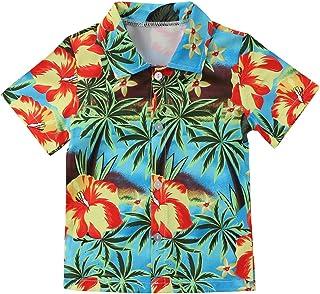 Camiseta Playera con Estampado de árbol de Coco de Boy Beach Camiseta de Manga Corta de Verano para niños pequeños