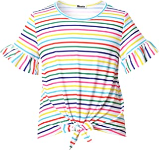 Girl's Short Sleeve Crop Top Tie Front Knot Casual Striped Tops Tee T Shirt 4-13Y