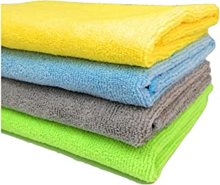 SOBBY Microfibre Cleaning Cloth - 40 cm x 40 cm - 340 gsm, (Multicolor, Pack of 4)