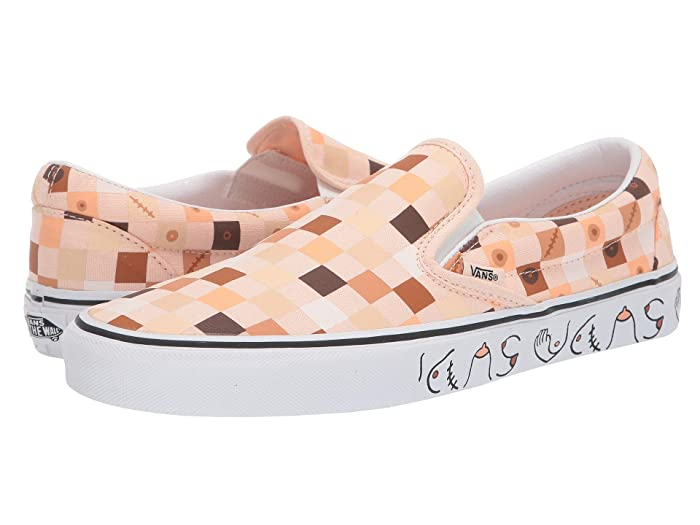 Vans   x Breast Cancer Awareness Collab Sneaker Collection ((Breast Cancer) Nude Check/True White (Classic Slip-On)) Athletic Shoes