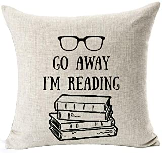 Book Lover Reading Books Club Librarian Black Glasses Go Away I'm Reading Cotton Linen Throw Pillow Case Cushion Cover Hom...
