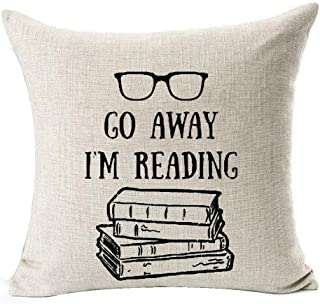Andreannie Book Lover Reading Books Club Librarian Black Glasses Go Away I'm Reading Cotton Linen Throw Pillow Case Cushion Cover New Home Office Indoor Decorative Square 18 X 18 Inches