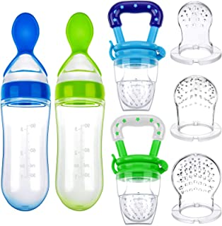 7 Pieces Baby Teething Pacifiers Baby Food Feeder Multicolored Fruit Feeder Silicone Food Dispensing Spoon with Replacement Feeding Nipples for Baby Infants Small Kids (Green and Blue)