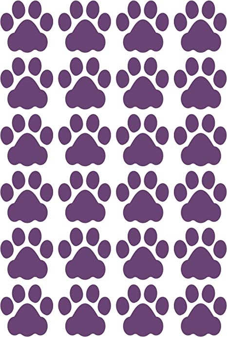 Litemark Durable 3 Inch Dog Paw Print Decals Great For Floors Ceilings Walls Laptops And Most Smooth Surfaces Gloss Finish Purple Pack Of 24 Paw Prints Home Kitchen