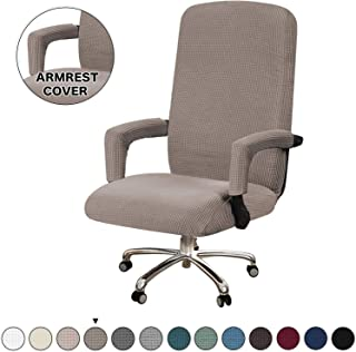 Turquoize Office Chair Cover Extra Large Computer Chair Cover Taupe Chair Slipcovers for Universal Rotating Boss Chair with Armrest Cover Swivel Chair Cover for High Back Chair, Large, Taupe