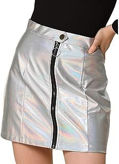 Allegra K Women's Casual A-Line Metallic Zipper Front High Waist Short Mini Skirt