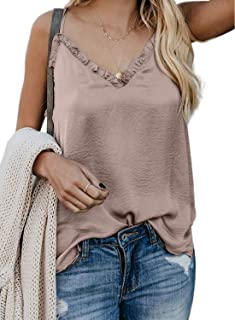 Women's Summer V Neck Ruffle Adjustable Spaghetti Strap Tank Tops Cute Sleeveless Blouse Shirts