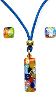 Murano Glass Set of Stick Pendant and Earrings (Thousand Flowers)