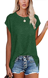 Women's Short Sleeve Crew Neck Basic T Shirts Side Slit Tops