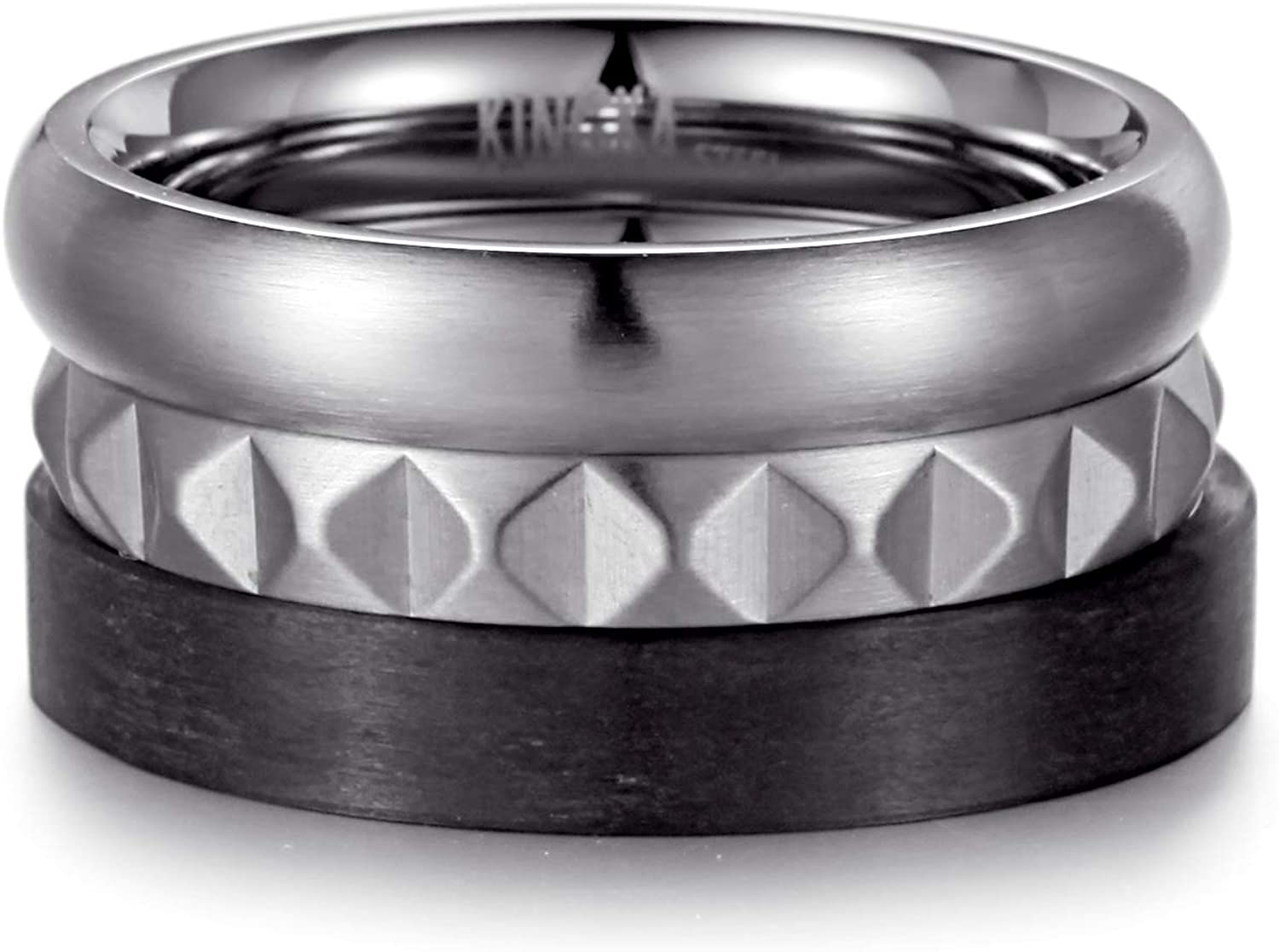 Houston Mall Stacking Rings - Stainless Steel Pyramid Carbon Max 80% OFF and Ring