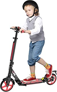 Famistar Foldable Kick Scooters, Adjustable Height, Dual Shock-Absorbing and Double-Brake System, Max. Support: 220 lbs, L...