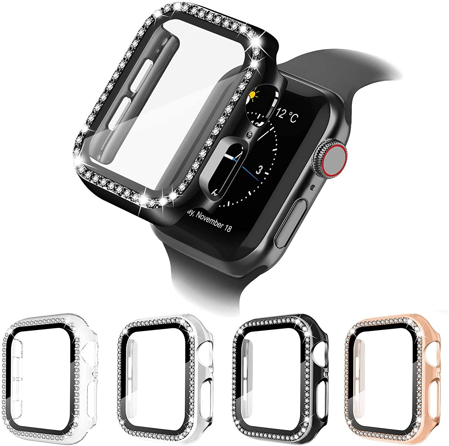 4 Pack Apple Watch Case with HD Tempered Glass Screen Protector for iWatch Series 6/5/4/3/2/1/SE, Full Cover Bling Diamond Crystal Rhinestone Protective Case (Rose Gold/Black/Clear/Silver, 44mm)
