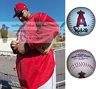 Jose Molina Los Angeles Angels Autographed Hand Signed LA Angels Logo Baseball with Exact Proof Photo of Signing and COA