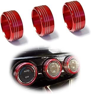 iJDMTOY 3pcs Red Anodized Aluminum AC Climate Control Knob Ring Covers For Subaru WRX, STI, Impreza, Forester, XV Crosstrek