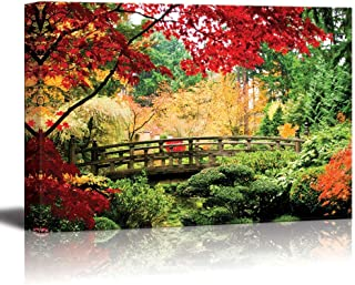 wall26 - Canvas Prints Wall Art - A Bridge in an Asian Garden During Fall Season. | Modern Wall Decor/Home Decoration Stretched Gallery Canvas Wrap Giclee Print. Ready to Hang - 16