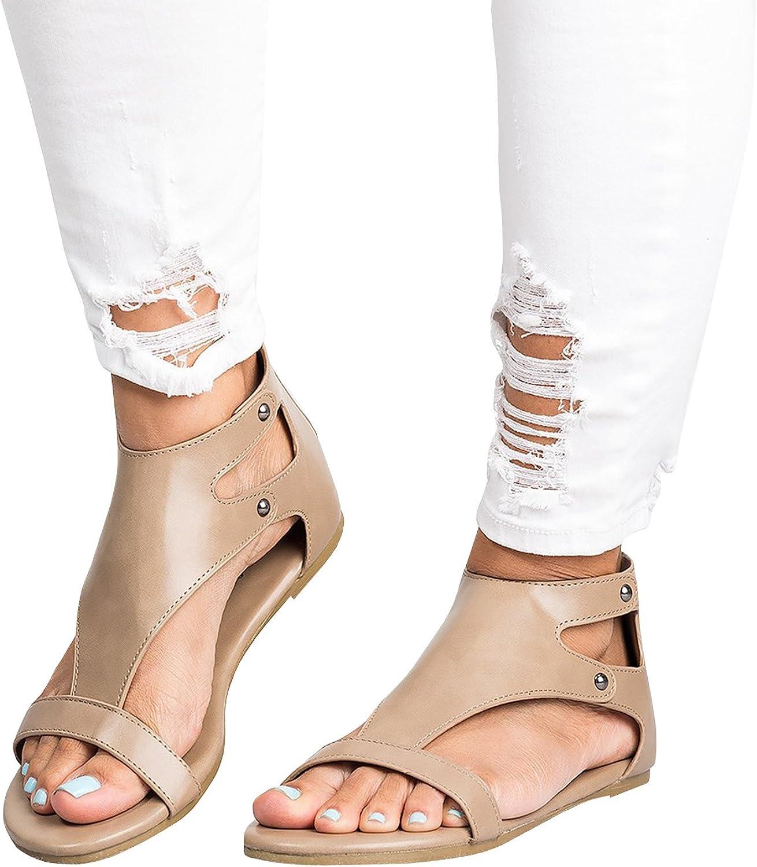Womens Sandals Flip Flop Ankle Buckle Gladiator Summer Flat shoes