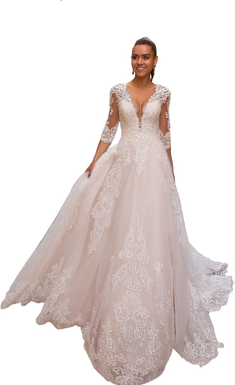 Stylefun Women's Lace Mermaid Bohemian Wedding Dresses for Bride 2021 Long Boho Bridal Gowns