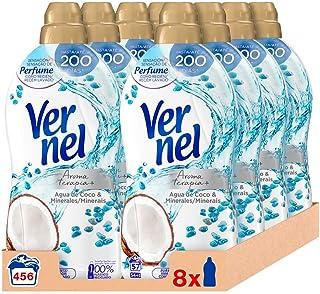 Vernel Suavizante Lavadora Concentrado Aromaterapia Agua de Coco & Minerals 57 Lavados - Pack de 8, Total: 456 Lavados (10...
