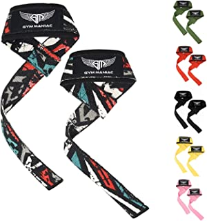 Gym Maniac GM Weight Lifting Gym Straps - Lift Strap with Large Neoprene Padding for Comfort and Strength - Adjustable Wraps to Support Wrists,  Hands and Forearm - Perfect for Any Workout - 23 Inches