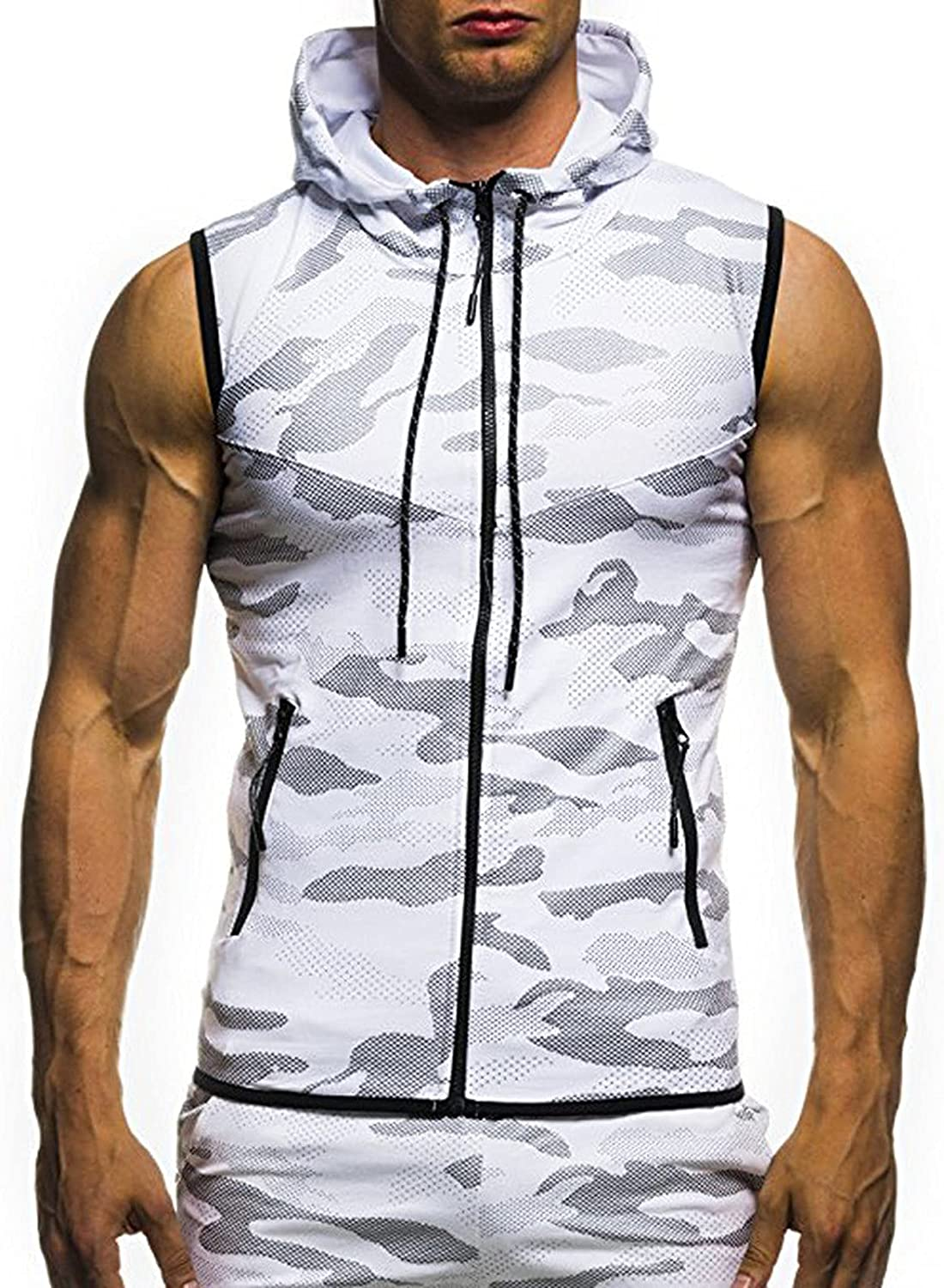 Clearance Mens Muscle Hoodies Vest Jacket Zip Up Slim Fit Pockets Tank Tops Sleeveless Bodybuilding Activewear Shirts