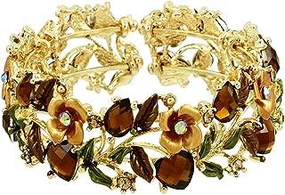 Falari Vintage Flower Bracelet Bangle Crystal Beads Hand-Painted