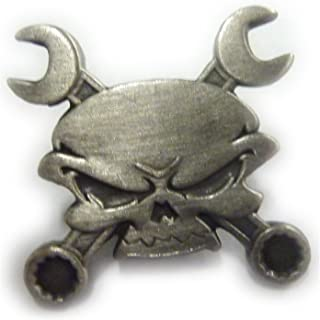 Skull Cross Wrenches Antique Nickel Car Motorcycle Mechanic Hat Jacket Lapel Pin