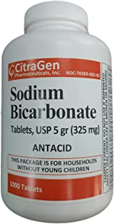 Sodium Bicarbonate Tablets USP 325 mg (5 Grains) for Relief of Acid Indigestion, Heartburn, Sour Stomach & Upset Stomach 1000 Tablets per Bottle by CitraGen Pharmaceuticals Inc