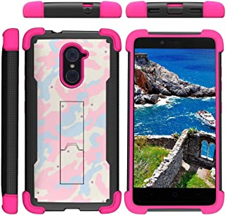 TurtleArmor | Compatible with ZTE Imperial Max Case | Max Duo | Grand X Max 2 [Grip Combat] Rugged Impact Dual Resistant Armor Kickstand Defender Case Pink Designs - Baby Blue Pink Camouflage