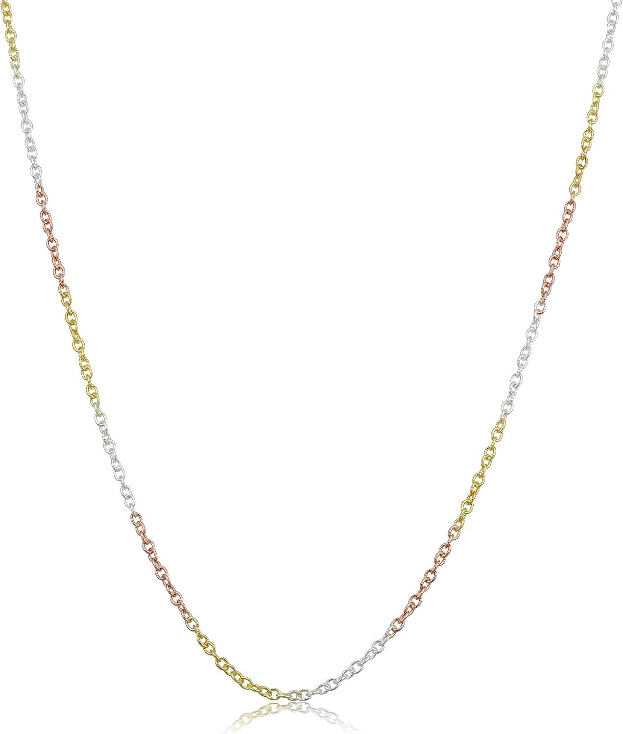 Kooljewelry Tri-color Finally popular brand Sterling Silver Chain 1.5mm Year-end gift Cable Necklace