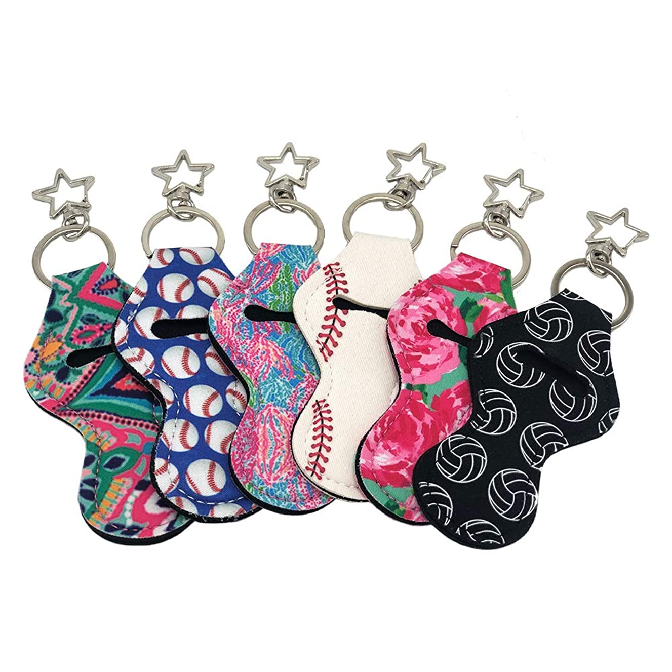 Auony Chapstick Holder Keychain, 6 Pack Lilly Printed Inspired Neoprene Chapstick Pouch Keychain Lip Balm Holder with Pentagram keychain
