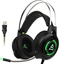 SUPSOO G815 Newest Version USB Surround Stereo Wired PC Gaming Headset Over Ear Headphones with Mic Revolution Volume Control Noise Canceling LED Light for PC/MAC/Computer(Black/Green)
