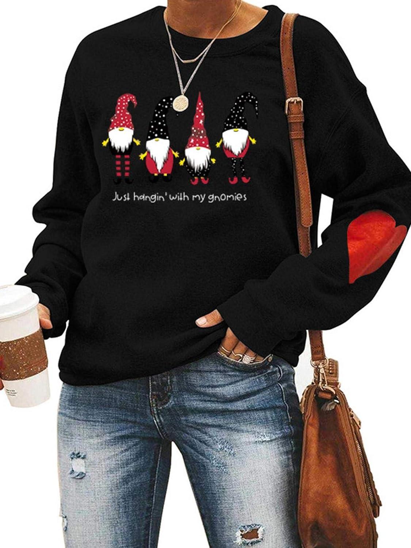 Weihnachten Pullover Damen Weihnachtspulli Weihnachtspullover Just Hanging With My Gnomies Weihnachtsmann Christmas Sweatshirt Pulli Shirt Mit Weihnachtsmotiv Muster F/ür Teenager M/ädchen Frauen Laien