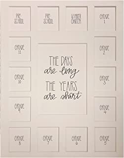 School Days Picture Mat with Multiple Openings – School Years Photo Collage – The Days Are Long Picture Mat – Pre-School & Kindergarten to 12th Grade Graduation (15 Photos, 2 Pre School - 12th, White)