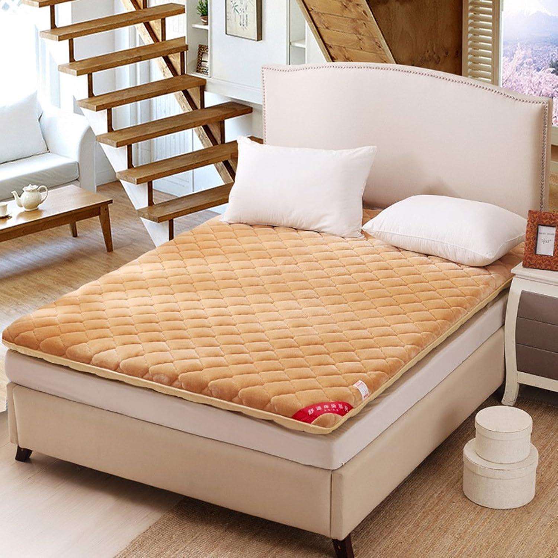 Coral Velvet Mattress Warm Tatami Flannel Cushion Back-A 100x200cm(39x79inch)