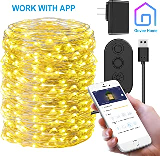 Govee LED Fairy String Light, App Controlled 66ft 200 Led Plug-in Light, 8 Modes Waterproof Twinkle Light for Bedroom, Patio, Backyard, Parties, Weddings, Thanksgiving Day, Christmas (Warm White)