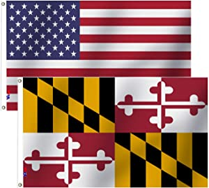 VAFLAG American Flag and Tree Maryland State Flag 3x5 Ft Brilliant Colors Double Stitched with Brass Grommets,Indoor/Outdoor Deco Yard USA& MD Banner