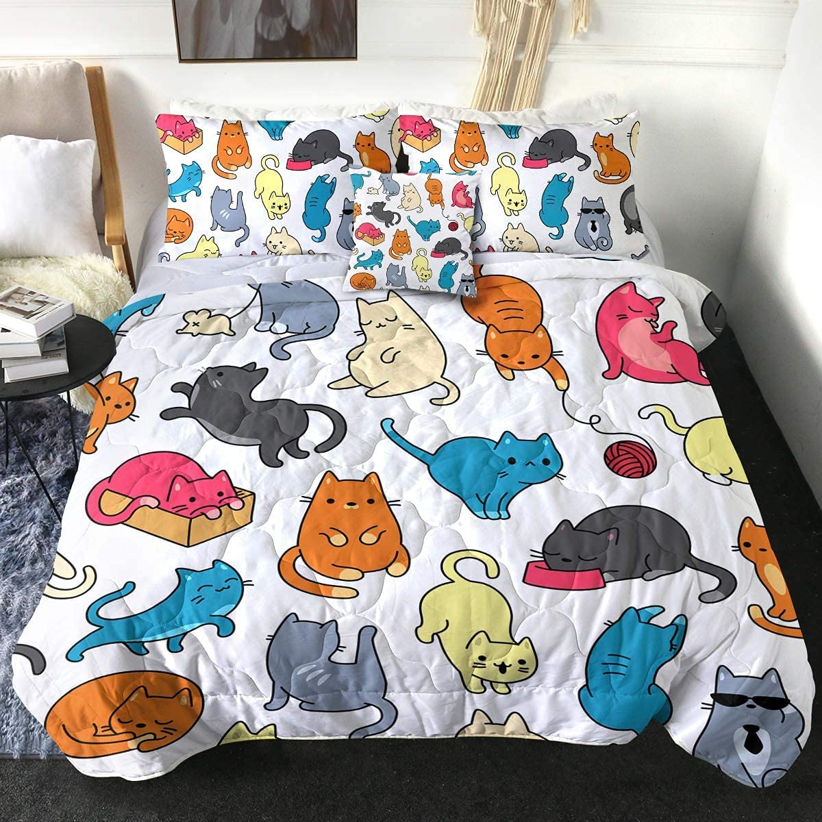Sleepwish 4 Piece Colorful Cats Comforter Shams Set Pillow New popularity with Ranking TOP20