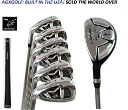 AGXGOLF Ladies Magnum NXT Left or Right Ladies Flex Irons Set w/Hybrid Utility Long Iron +5,6,7,8 & 9 + PW: Petite Regular Built in USA!